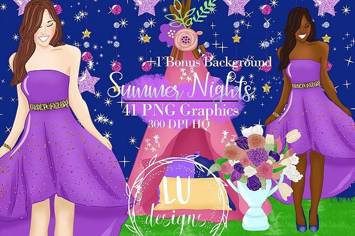 Summer Nights Clipart, Summer Graphics, Outdoor Clipart