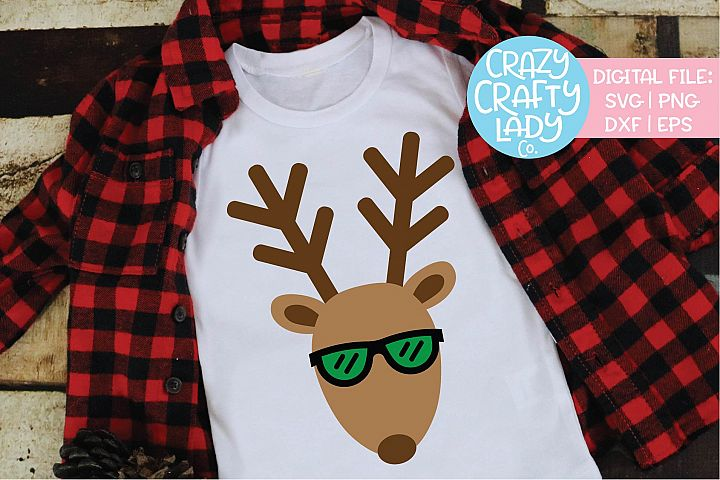 Reindeer with Sunglasses Christmas SVG DXF EPS PNG Cut File