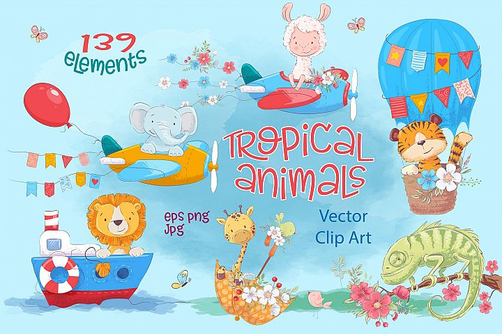 Tropical animals vector clip art
