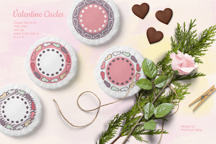 Valentine Circle Frames Clipart Set of 24 PNG files