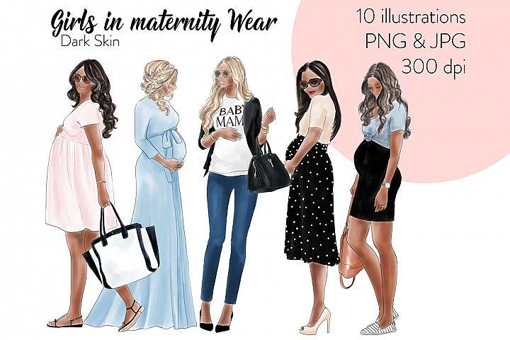 Fashion illustration clipart - Girls in Maternity Wear - Dark Skin
