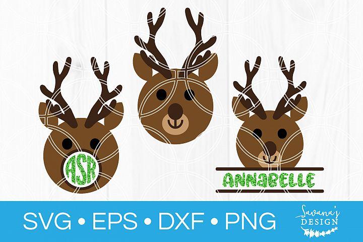Reindeer Monogram SVG Deer SVG Christmas SVG Reindeer SVG