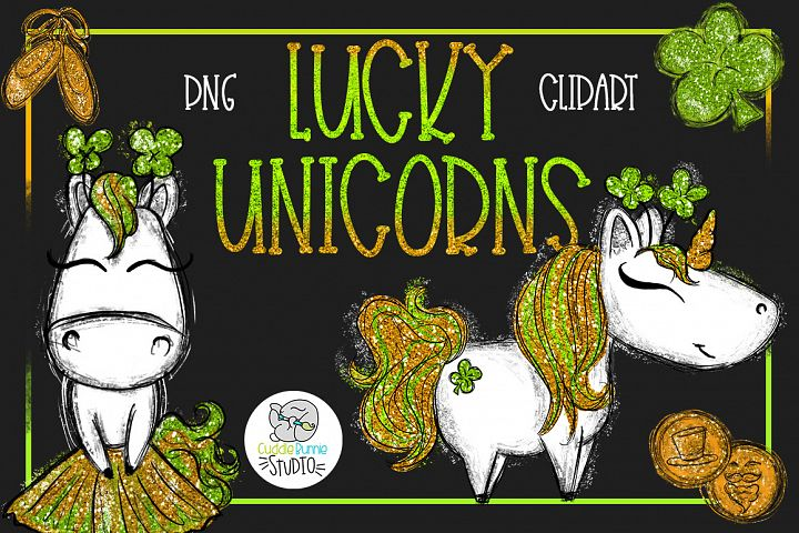 Lucky Unicorns| Cute St Patricks Day PNG Clipart