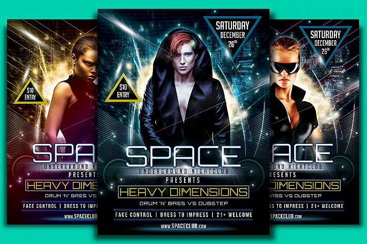 Space Club Heavy Dimensions Flyer Template