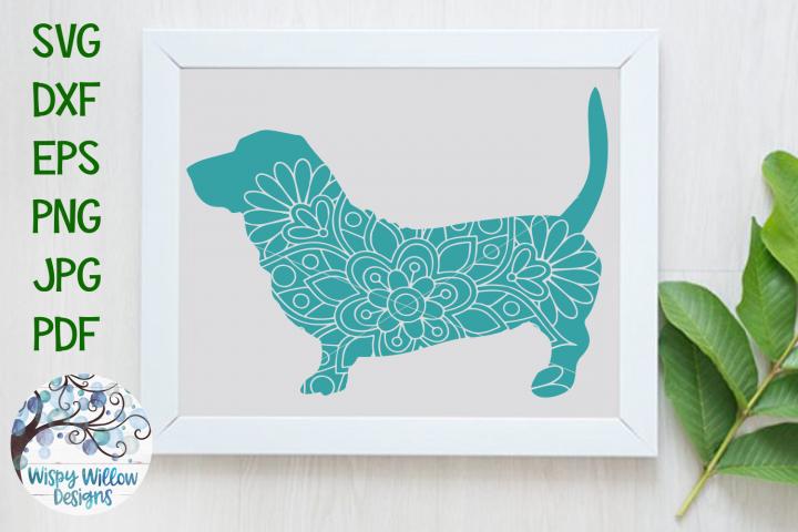 Basset Hound Dog Mandala | Animal Mandala SVG