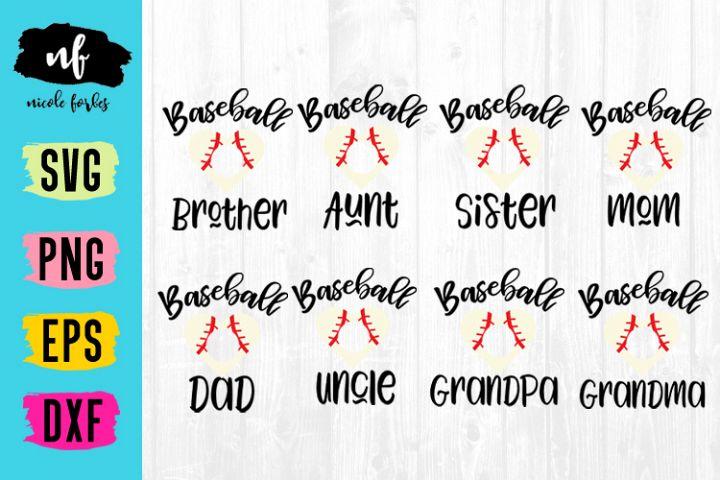 Baseball Family Monogram SVG Bundle