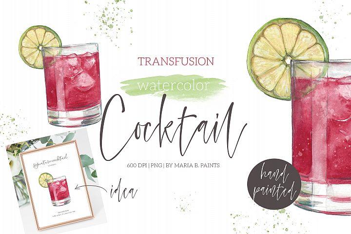 Transfusion Cranberry Cocktail Watercolor Clipart Illustrati