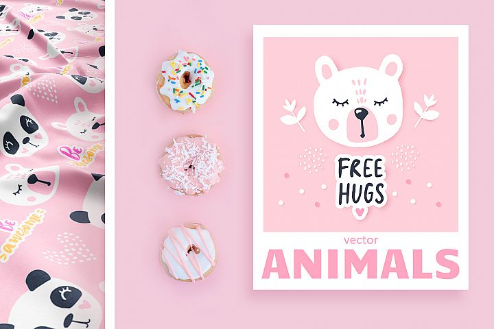 Cute animals. Cartoon illustrations.