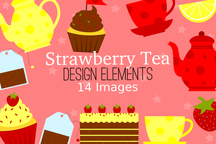 Strawberry Tea Graphics, Illustrations, Clipart