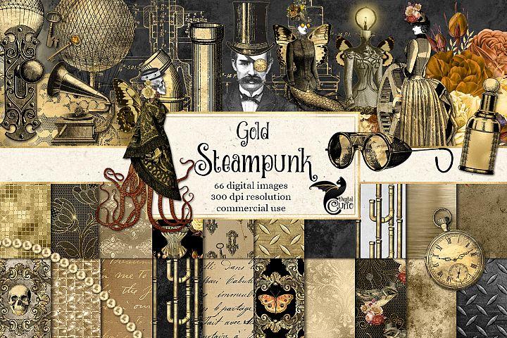 Gold Steampunk Digital Scrapbooking Kit