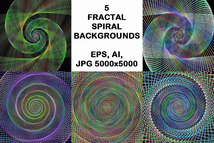 5 fractal spiral design backgrounds (AI, EPS, JPG 5000x5000)