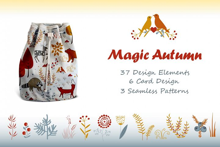 Magic Autumn. Seamless patterns, design elements, and cards