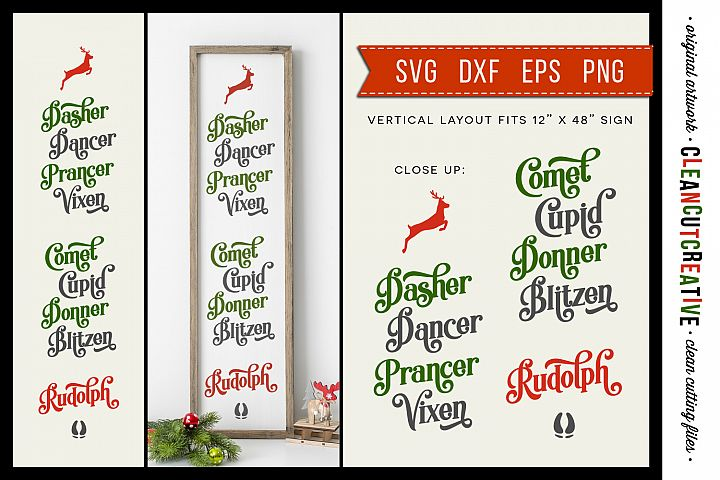 REINDEER NAMES Vertical Christmas porch sign SVG cut file
