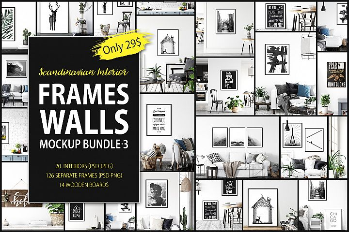 Scandinavian Interior Frames & Walls Mockup Bundle - 3