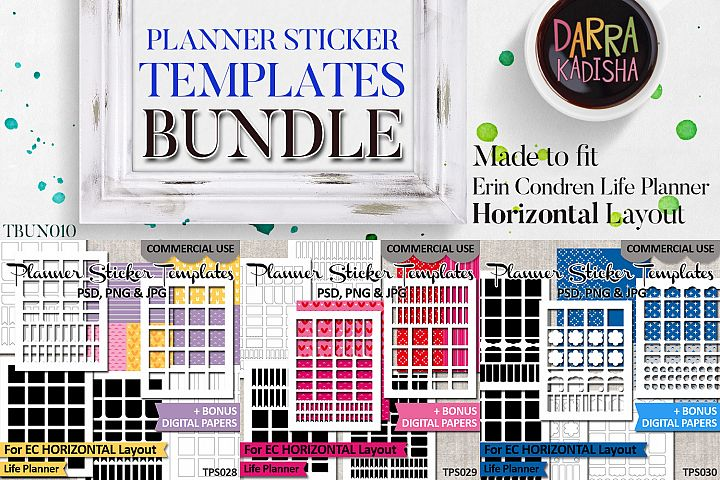 Sticker Templates Bundle Vol. 10 - Erin Condren Horizontal