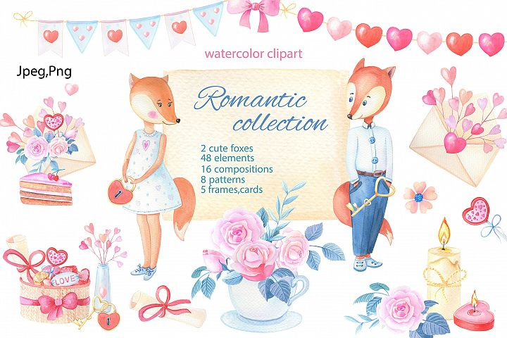 Romantic collection. Watercolor