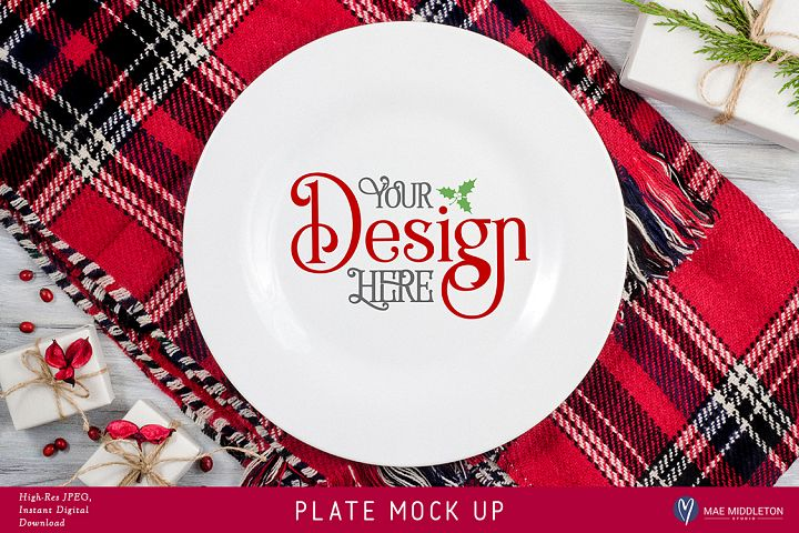 Plate Mock up for Christmas, Holiday styled stock photo