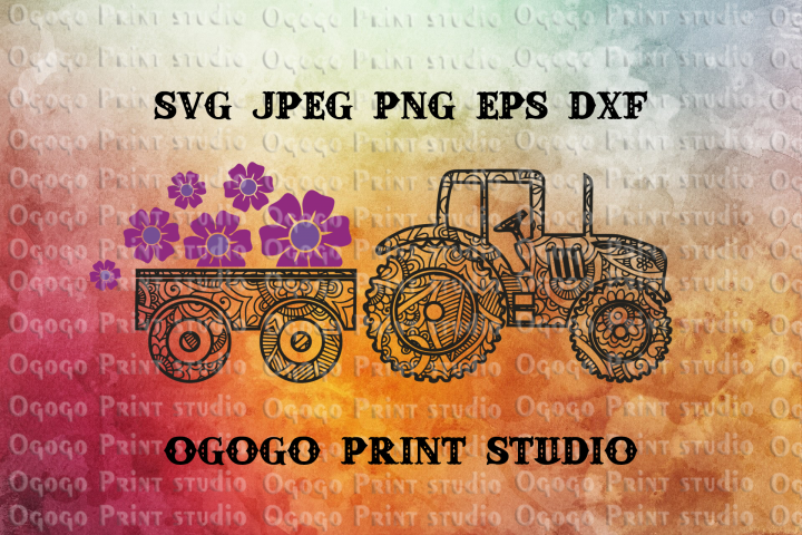 Spring Svg, Flower Mandala Svg, Farm Tractor svg, Zentangle