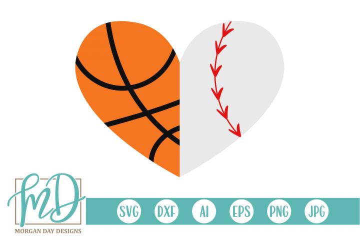 Basketball Baseball Heart SVG, DXF, AI, EPS, PNG, JPEG