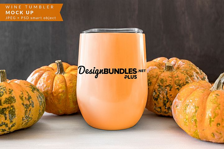 Wine Tumbler with pumpkins Mock up