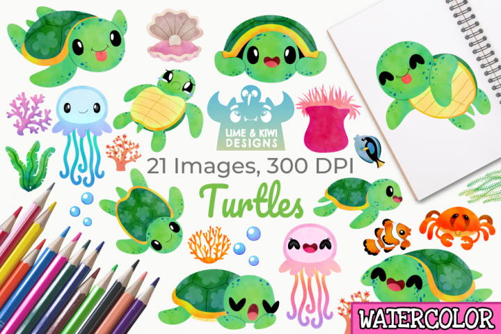 Turtles Watercolor Clipart, Instant Download Vector Art