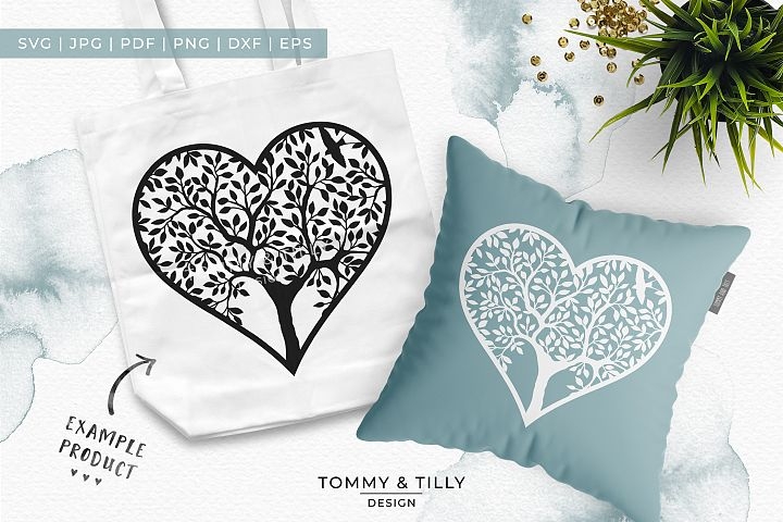 Heart Tree - Papercut Template SVG EPS DXF PNG PDF JPG example 1