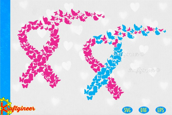 Ribbon of Butterflies SVG | Awareness SVG