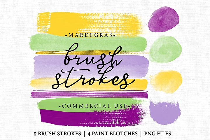 Mardi gras Brush Stroke Clip art. Brush Strokes in mardi gras colors and gold. Digital brush strokes and paint blotches 13 altogether