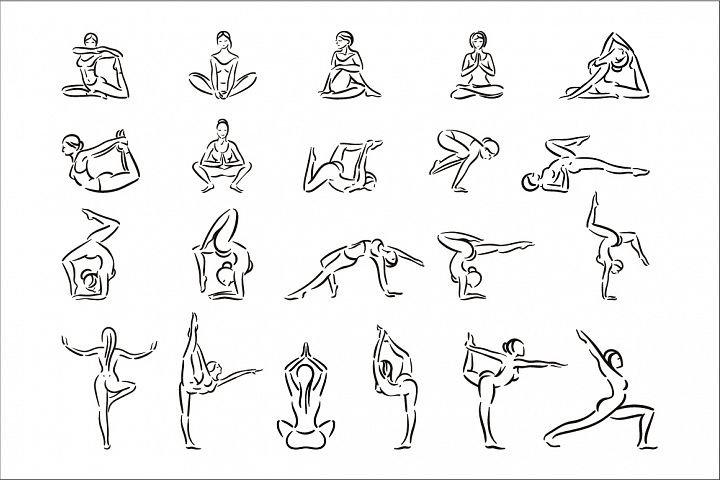 Set of yoga pose woman silhouettes in a linear sketch style.