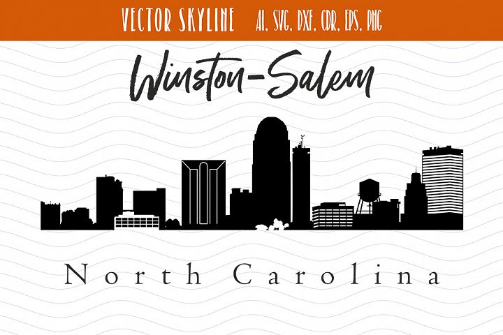 Winston-Salem City Skyline SVG