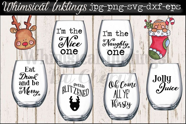 Jolly Juice~ Christmas Wine Glass SVG Files