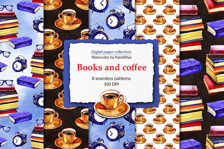 Watercolor books and coffee patterns
