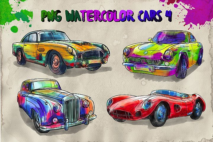 PNG watercolor cars 4