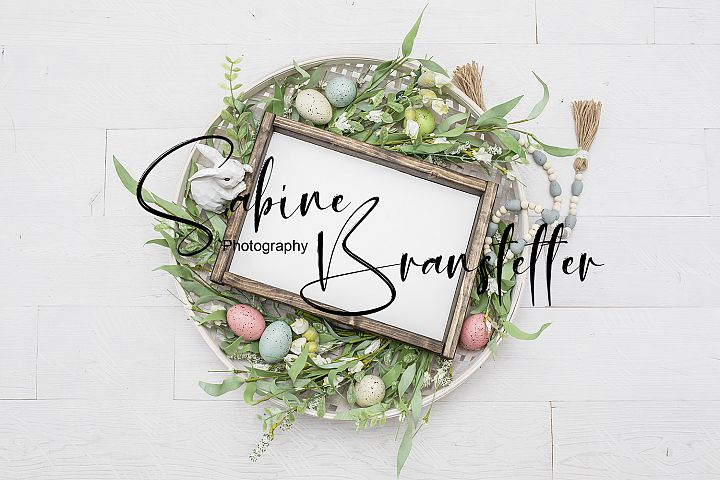 Styled Stock Photo Rustic Easter Rectangle Wood Sign Mockup
