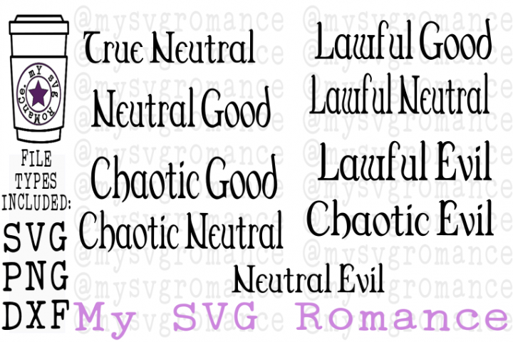 Gamer Alignment Bundle For Role Play DND Games SVG DXF PNG