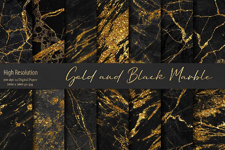 Gold and Black Marble Textures
