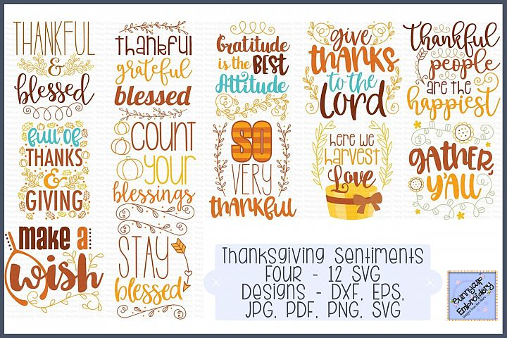 Thanksgiving Sentiments Four - 12 SVG, Clipart and Printable