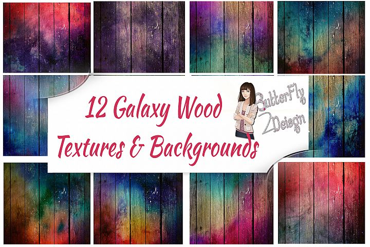 12 Galaxy Wood Background and textures