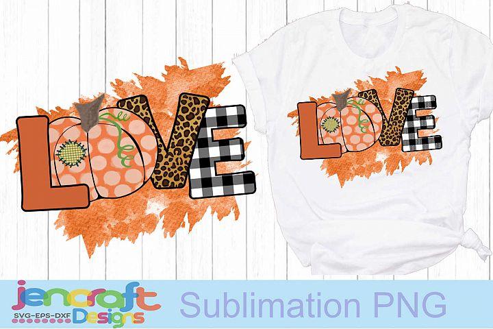 Fall LOVE Pumpkin png Sublimation Print PNG file de