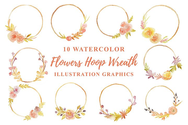 10 Watercolor Flowers Hoop Wreath Illustration Graphics