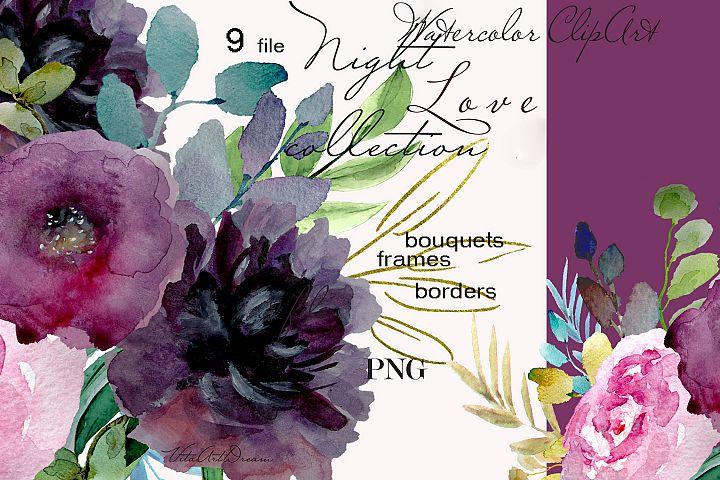 Love Watercolor floral clipart design invitation