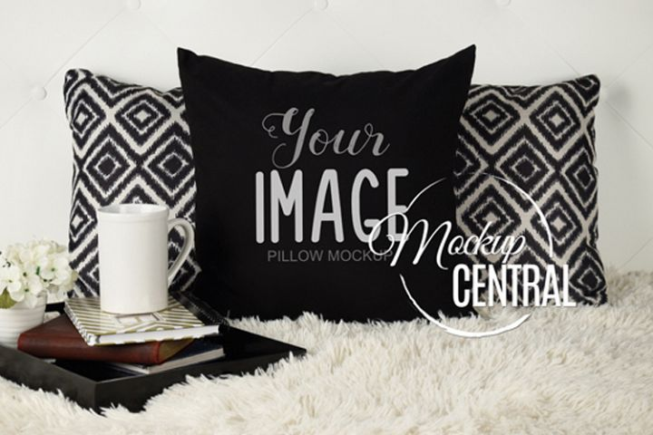Blank Black Square Mockup Bedroom Pillow JPG