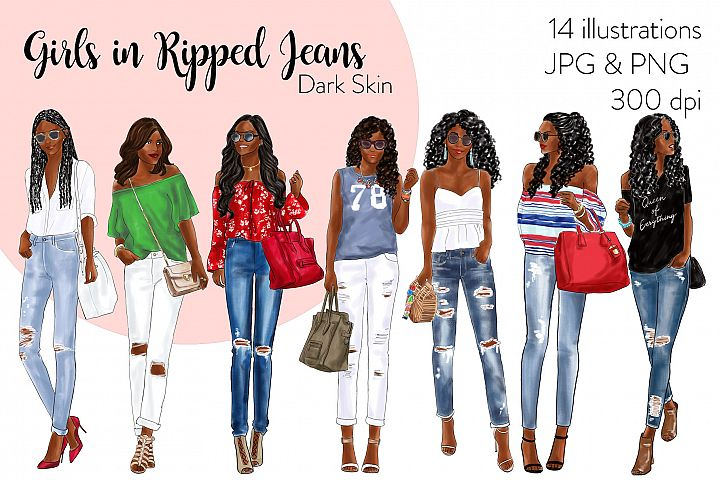 Fashion clipart - Girls in Ripped Jeans - Dark Skin