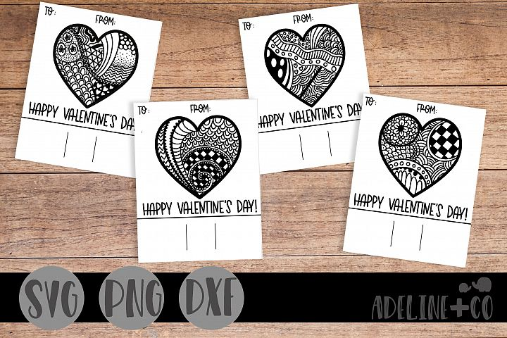 Printable Valentine cards for kids, coloring, zentangle