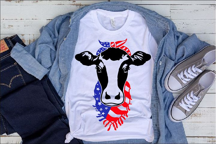 Cow Head whit Bandana and Scarf US flag SVG heifer 1273s