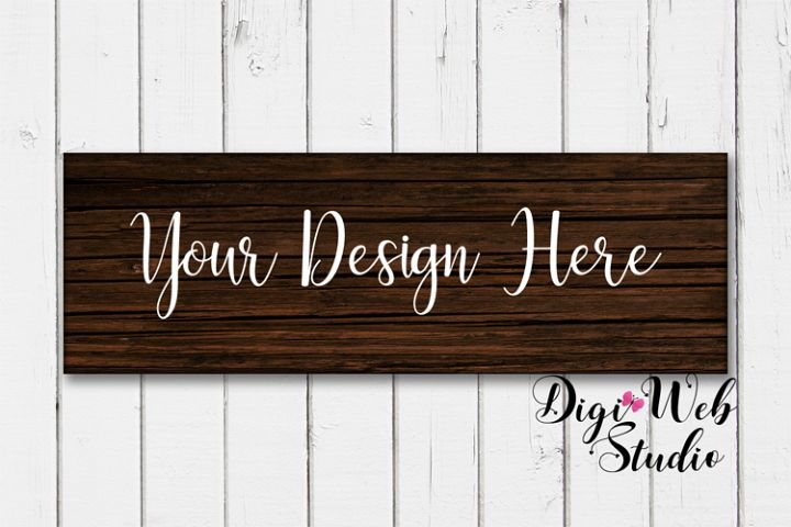 Wood Sign Mockup - Dark Wood Sign on Rustic White Shiplap