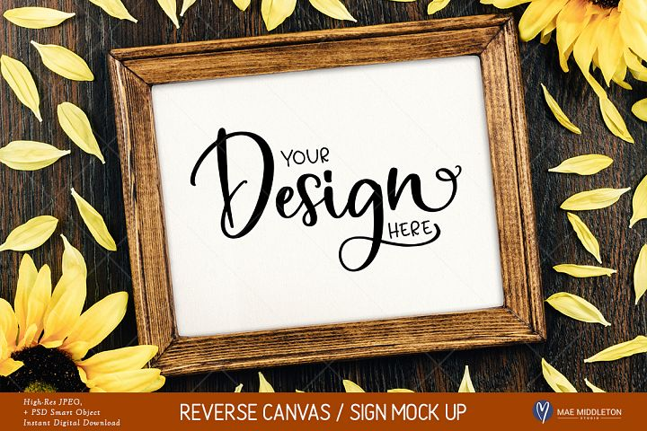 Reverse Canvas / Framed Wood Sign Mock up - JPEG & PSD