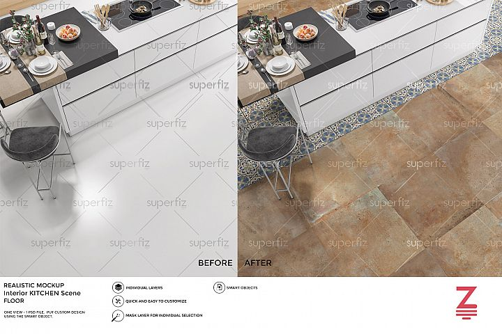 Kitchen PSD Mockup to change the FLOOR surface SM42