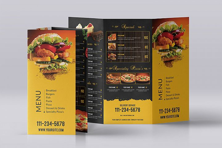 Trifold Food Menu Template