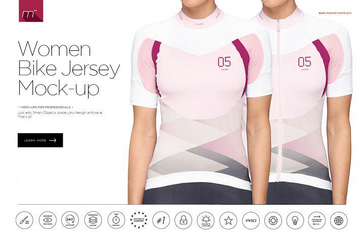Women Bike Jersey on Model Mock-up